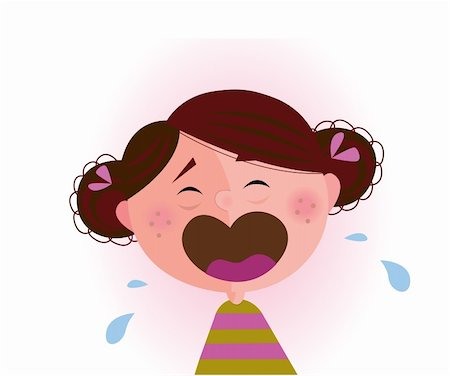 Crying small child. Vector cartoon illustration of cute crying baby girl. Stock Photo - Budget Royalty-Free & Subscription, Code: 400-04181539