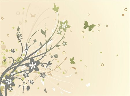 filigree designs in trees and insects - Vector illustration of grunge swirling flourishes decorative Floral Background Stock Photo - Budget Royalty-Free & Subscription, Code: 400-04181843