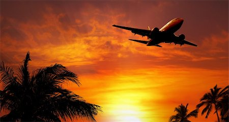 Airplane at sunset Stock Photo - Budget Royalty-Free & Subscription, Code: 400-04182016