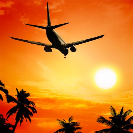 Airplane at sunset Stock Photo - Budget Royalty-Free & Subscription, Code: 400-04182020
