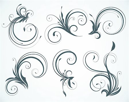 Vector illustration set of swirling flourishes decorative floral elements Stock Photo - Budget Royalty-Free & Subscription, Code: 400-04182548
