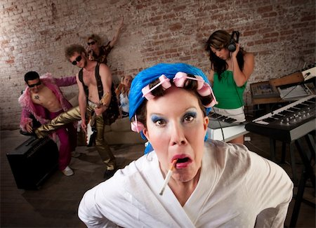 Angry neighbor crashing a 1970s Disco Music Party Stock Photo - Budget Royalty-Free & Subscription, Code: 400-04194155