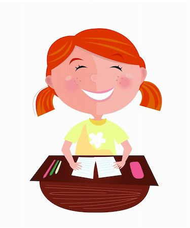 Small pupil sitting in the classroom. Cute girl study hard, but learning makes her fun! Stylized vector Illustration Stock Photo - Budget Royalty-Free & Subscription, Code: 400-04194376