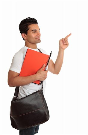A smiling student with satchel and notebook, looking and pointing to your message.  White background. Stock Photo - Budget Royalty-Free & Subscription, Code: 400-04194614