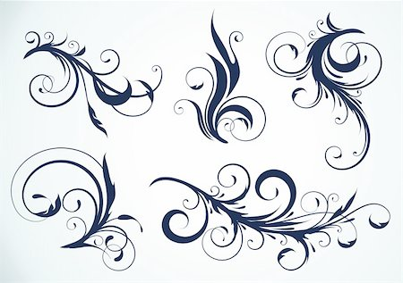 filigree tree - Vector illustration set of swirling flourishes decorative floral elements Stock Photo - Budget Royalty-Free & Subscription, Code: 400-04194709