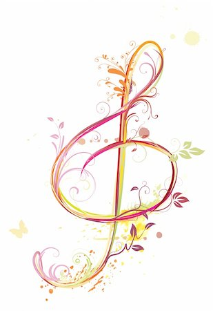 Vector illustration of  floral music abstract background with Treble clef Stock Photo - Budget Royalty-Free & Subscription, Code: 400-04194711