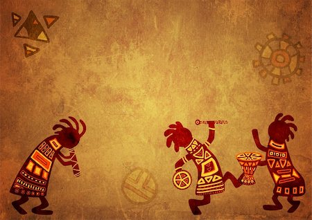 Dancing musicians. African national patterns Stock Photo - Budget Royalty-Free & Subscription, Code: 400-04194848