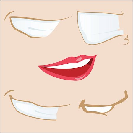 Set of 5 cartoon mouths. Editable Vector Illustration Stock Photo - Budget Royalty-Free & Subscription, Code: 400-04194857