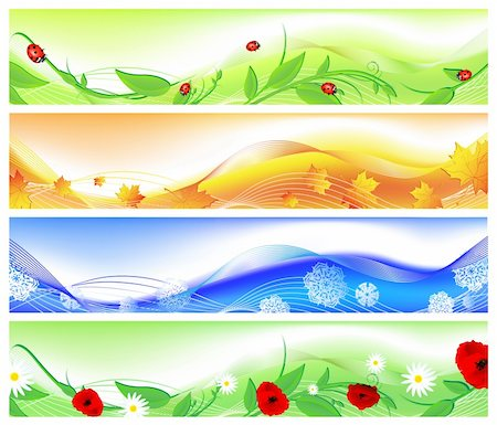 horizontal four seasons web banners. Summer, autumn, winter and spring Stock Photo - Budget Royalty-Free & Subscription, Code: 400-04194915