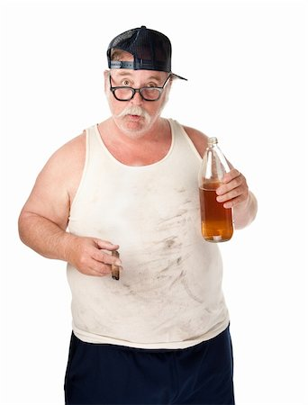Fat man with drooping glasses a beer and cigar Stock Photo - Budget Royalty-Free & Subscription, Code: 400-04195551