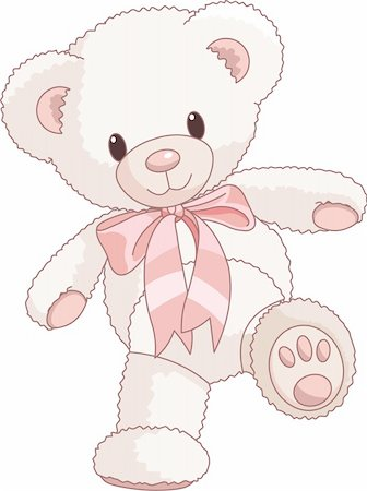 simsearch:400-04598294,k - Illustration of Very Cute Teddy Bear with bow walking Stock Photo - Budget Royalty-Free & Subscription, Code: 400-04196286