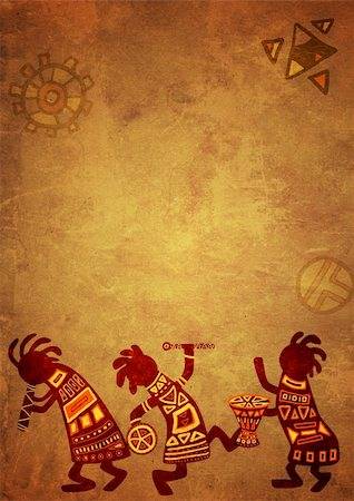Dancing musicians. African national patterns Stock Photo - Budget Royalty-Free & Subscription, Code: 400-04196820