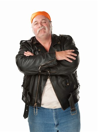 Smirking biker gang member with leather jacket Stock Photo - Budget Royalty-Free & Subscription, Code: 400-04197189