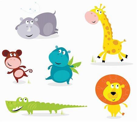 Vector cartoon illustration of six cute safari animals - Giraffe, Hippopotamus, Rhinoceros, Crocodile, Lion and Monkey. Stock Photo - Budget Royalty-Free & Subscription, Code: 400-04197250