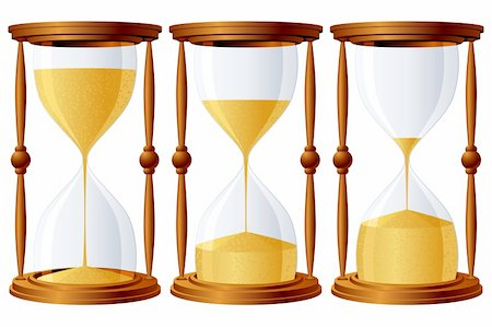 sand clock - Set of 3 sand-glasses, with different level of sand. Stock Photo - Budget Royalty-Free & Subscription, Code: 400-04197252