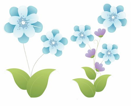 simsearch:400-04697977,k - illustration drawing of blue flower with green leaves in a white background Stock Photo - Budget Royalty-Free & Subscription, Code: 400-04197940