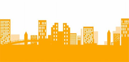 illustration drawing of orange urban silhouette,used as background Stock Photo - Budget Royalty-Free & Subscription, Code: 400-04198862