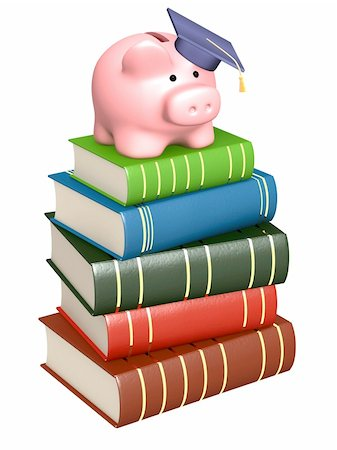 education loan - Piggy bank with cap and books. Objects over white Stock Photo - Budget Royalty-Free & Subscription, Code: 400-04199397