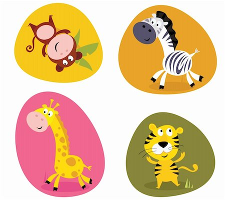 Vector cartoon illustration of monkey, tiger, giraffe and zebra Stock Photo - Budget Royalty-Free & Subscription, Code: 400-04199392