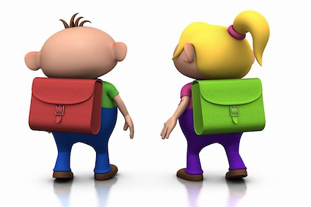 cute cartoony boy and girl with schoolbags on their back walking away - back to school concept - 3d rendering/illustration Stock Photo - Budget Royalty-Free & Subscription, Code: 400-04199477