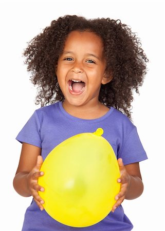 Adorable african little girl with yellow balloon isolated over white Stock Photo - Budget Royalty-Free & Subscription, Code: 400-04199486