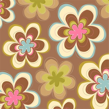 simsearch:400-05235216,k - nice flower patterns on a brown background Stock Photo - Budget Royalty-Free & Subscription, Code: 400-04199518