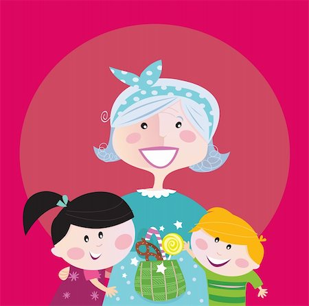Super grandma with children - granddaughter and grandson. Boy and girl hug their granny. Boy is taking sweet candy. Stylized vector cartoon illustration. Stock Photo - Budget Royalty-Free & Subscription, Code: 400-04190464