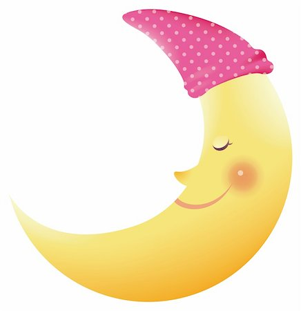 illustration of a cartoon crescent moon smiling. Stock Photo - Budget Royalty-Free & Subscription, Code: 400-04190488