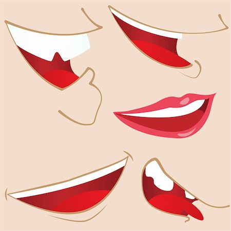Set of 5 cartoon mouths. Editable Vector Illustration Stock Photo - Budget Royalty-Free & Subscription, Code: 400-04190737