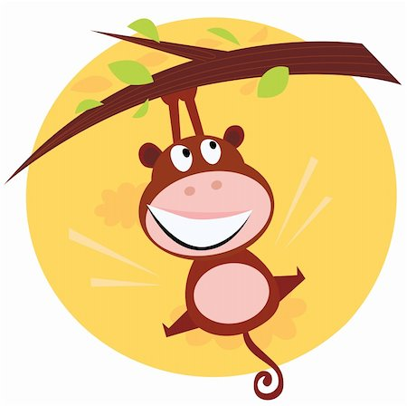 smiling chimpanzee - Vector cartoon illustration of brown cute monkey hanging from tree branch. Sunset scene behind monkey. Stock Photo - Budget Royalty-Free & Subscription, Code: 400-04191327
