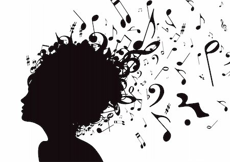 silhouette musical symbols - Vector illustration of abstract Young girl face silhouette in profile with musical hair Stock Photo - Budget Royalty-Free & Subscription, Code: 400-04191340