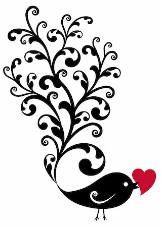 black ornamental bird with red heart, vector background Stock Photo - Budget Royalty-Free & Subscription, Code: 400-04192136