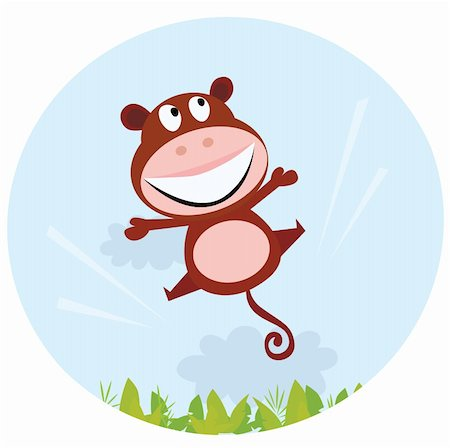 smiling chimpanzee - Cute brown monkey jump in the air. African rain forest in background behind monkey. Vector cartoon illustration. Stock Photo - Budget Royalty-Free & Subscription, Code: 400-04192875