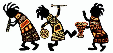 Dancing musicians. African national patterns Stock Photo - Budget Royalty-Free & Subscription, Code: 400-04193672