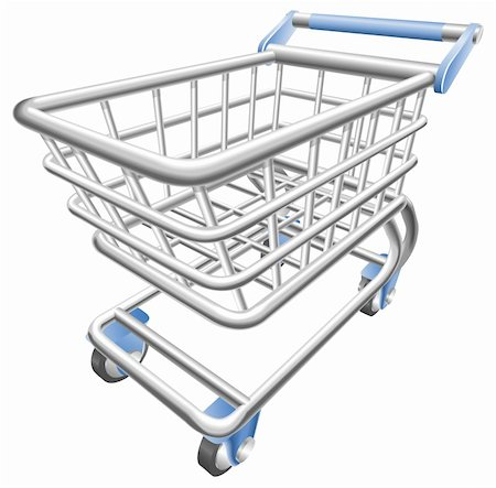 empty shopping cart - A shiny shopping cart trolley vector illustration with dynamic perspective. Can be used as an icon or illustration in its own right. Stock Photo - Budget Royalty-Free & Subscription, Code: 400-04193717