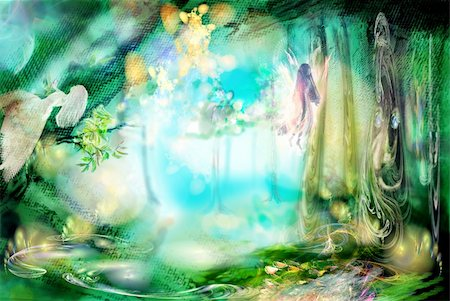 The magic forest with fairies. Excellent fantastic background. Very abstractly Stock Photo - Budget Royalty-Free & Subscription, Code: 400-04204169