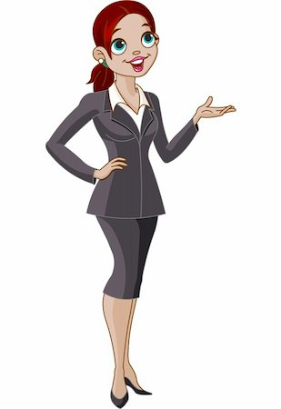 Pretty business girl in suit, presents your text Stock Photo - Budget Royalty-Free & Subscription, Code: 400-04204809