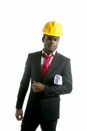 African american architect engineer with yellow hardhat and plans Stock Photo - Budget Royalty-Free & Subscription, Code: 400-04205416