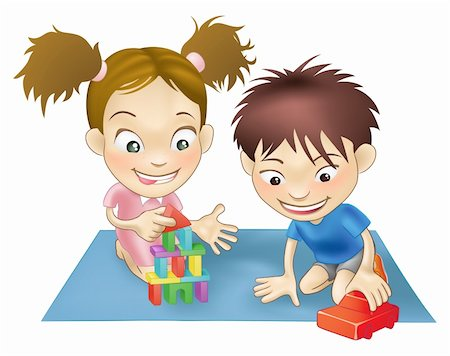 An illustration of two white children playing with toys. Stock Photo - Budget Royalty-Free & Subscription, Code: 400-04205737