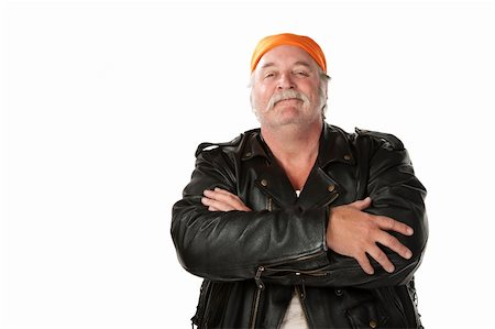 Confident biker gang member with leather jacket Stock Photo - Budget Royalty-Free & Subscription, Code: 400-04206005