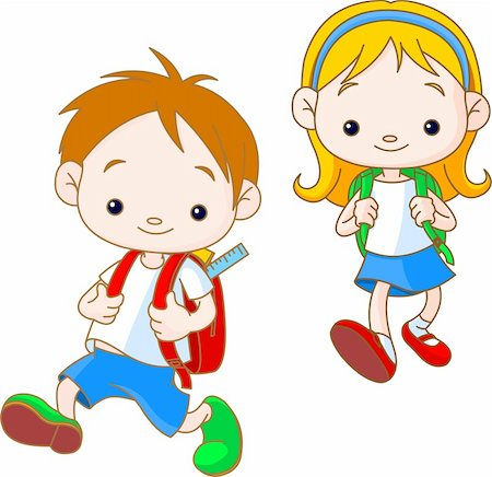 students learning cartoon - Two cute kids going to School Stock Photo - Budget Royalty-Free & Subscription, Code: 400-04206086