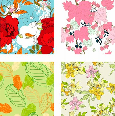 peony design vector - Floral seamless pattern. Set 8 Stock Photo - Budget Royalty-Free & Subscription, Code: 400-04206143