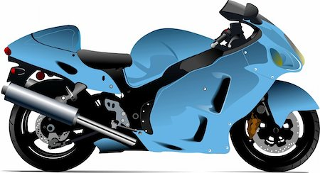 sports scooters - Sketch of modern motorcycle. Vector illustration Stock Photo - Budget Royalty-Free & Subscription, Code: 400-04206611