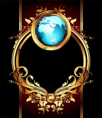 ornate frame with globe, this  illustration may be useful  as designer work Stock Photo - Budget Royalty-Free & Subscription, Code: 400-04207745