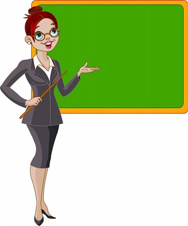Pretty teacher in the class, presents your text on the blackboard Stock Photo - Budget Royalty-Free & Subscription, Code: 400-04208592