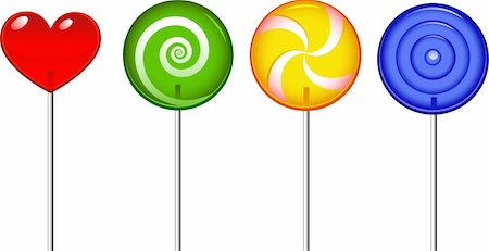 simsearch:400-04344039,k - Four lollipop over white. EPS 8, AI, JPEG Stock Photo - Budget Royalty-Free & Subscription, Code: 400-04208866