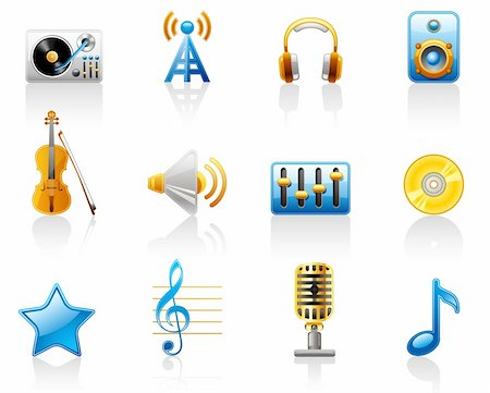 Music icon set.  Isolated on a white background. Stock Photo - Budget Royalty-Free & Subscription, Code: 400-04209481
