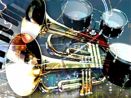 abstract jazz rock background musical instruments Stock Photo - Budget Royalty-Free & Subscription, Code: 400-04209607