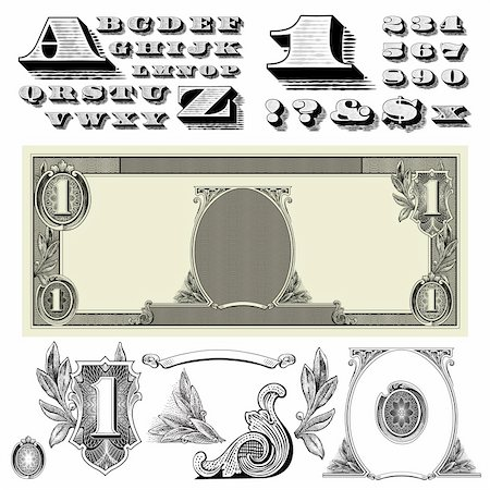 scalable - Set of detailed vector ornaments based off a one dollar bill. Stock Photo - Budget Royalty-Free & Subscription, Code: 400-04209655