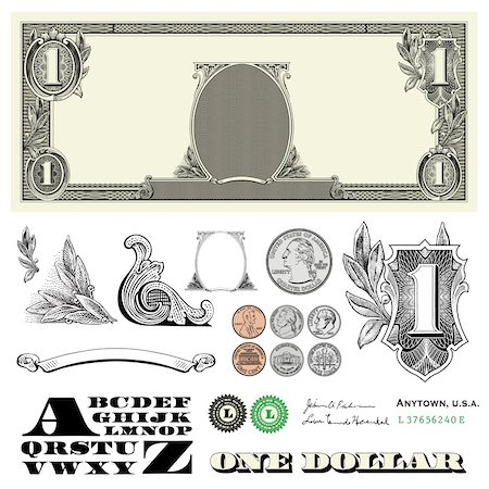 scalable - Set of detailed vector ornaments loosely based off a one dollar bill, includes vector illustrations of coins: quarter, nickel, dime, and penny Stock Photo - Budget Royalty-Free & Subscription, Code: 400-04209651